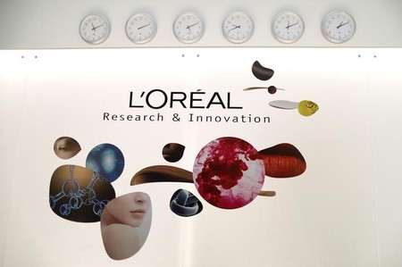 View of the entrance of cosmetics company L'Oreal's new World hair research centre in Saint-Ouen