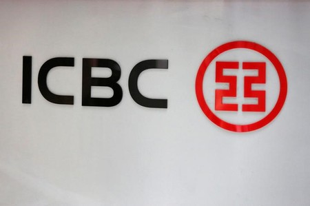 Industrial and Commercial Bank of China Ltd (ICBC)'s logo is seen at its branch in Beijing