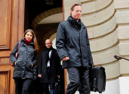 Luescher walks out of the courthouse after the verdict of the trial of Lescaudron a Credit Suisse banker in Geneva