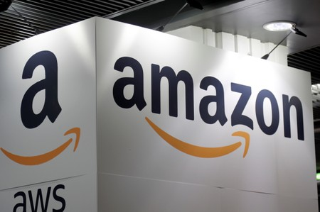 The Amazon logo is seen at the Young Entrepreneurs fair in Paris