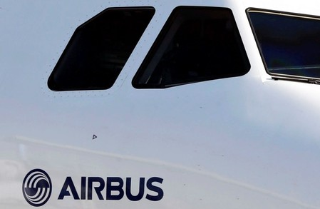 An Airbus A320neo aircraft is pictured during a news conference to announce a partnership between Airbus and Bombardier on the C Series aircraft programme, in Colomiers near Toulouse