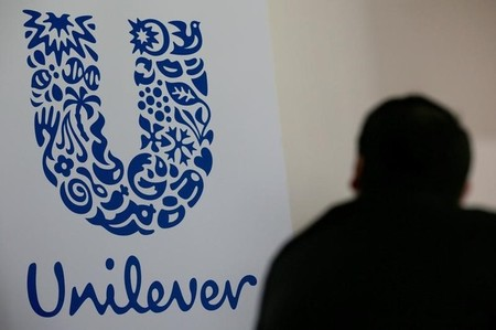 FILE PHOTO: The logo of the Unilever group is seen at the Miko factory in Saint-Dizier