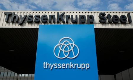 The logo of Thyssen Krupp AG is pictured at the gate one of the ThyssenKrupp steel plant in Duisburg