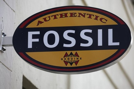 FILE PHOTO -  A Fossil store logo is pictured on a building along the Lincoln Road Mall in Miami Beach