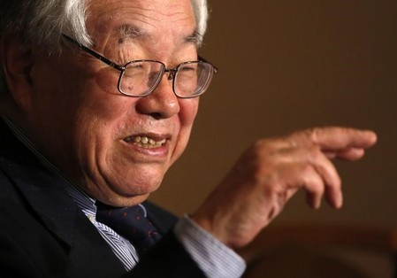FILE PHOTO - Koichi Hamada, professor emeritus of economics at Yale University and an economic adviser to Japan's Prime Minister Shinzo Abe, speaks during a news conference in Tokyo