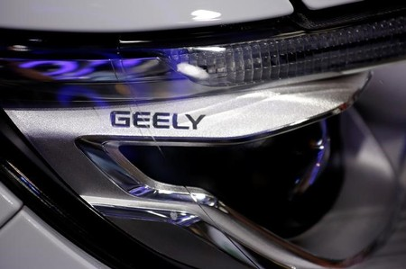 FILE PHOTO -  A sign is seen on a vehicle displayed at Geely Auto's booth during the Auto China 2016 auto show in Beijing