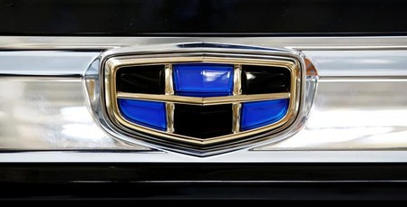 A logo of Geely automobile company is seen on a car at the Belarusian-Chinese closed joint-stock company BelGee plant in Zhodino