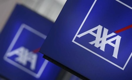 Logos of France's biggest insurer Axa are seen on a building in Nanterre