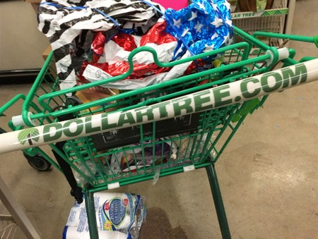 FILE PHOTO: A shopping cart is seen inside a Dollar Tree discount store in Garden City, New York