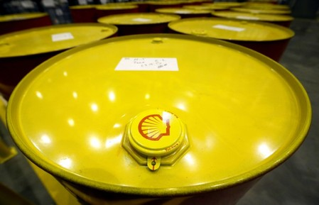FILE PHOTO: Filled oil drums are seen at Royal Dutch Shell Plc's lubricants blending plant in the town of Torzhok