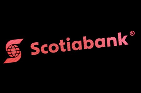 FILE PHOTO - The Scotiabank logo is displayed on a screen on the floor