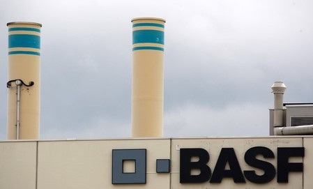 FILE PHOTO: A logo is seen on the facade of the BASF plant in Schweizerhalle