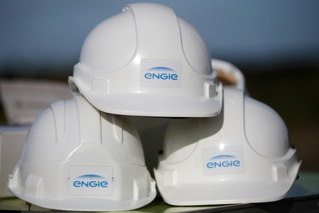 FILE PHOTO:The Engie logo is pictured on working helmets during a press visit at Engie windfarm in Radenac in Brittany