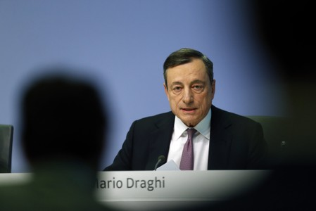 European Central Bank (ECB) President Mario Draghi holds a news conference