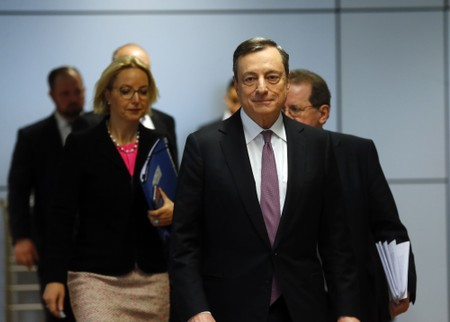 European Central Bank (ECB) President Mario Draghi and Vice President Vitor Constancio arrive for a news conference at the ECB headquarters in Frankfurt