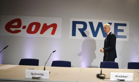 RWE AG CEO Teyssen arrives for a joint news conference in Essen