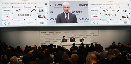 Volkswagen CEO Matthias Mueller speaks at the annual earnings news conference of VW in Berlin in Berlin
