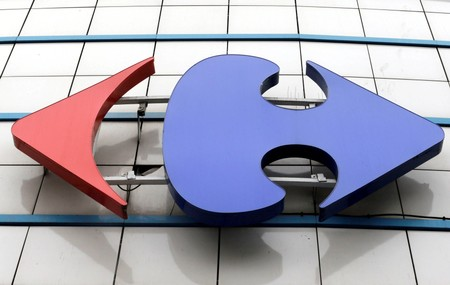 FILE PHOTO: A Carrefour logo is seen on a Carrefour Hypermarket store in Montreuil, near Paris