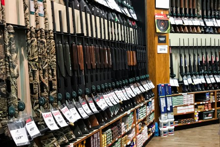 Guns for sale are seen inside of Dick's Sporting Goods store in Stroudsburg, Pennsylvania