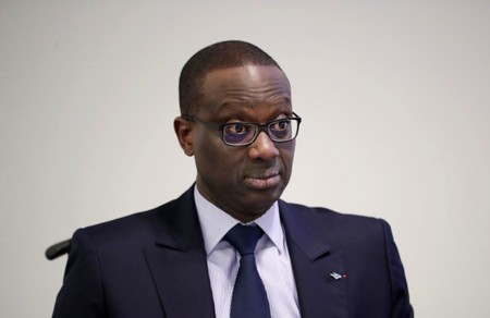 CEO Thiam of Swiss bank Credit Suisse awaits a news conference to present full-year results in Zurich