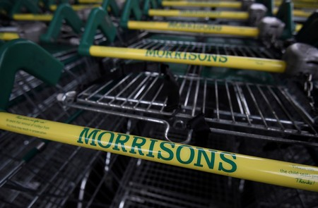 FILE PHOTO: Shopping trolleys are seen outside of a branch of the food retailer Morrisons in west London, Britain