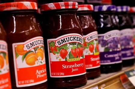 FILE PHOTO: Containers of Smuckers's Jam are displayed in a supermarket in New York