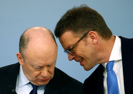 FILE PHOTO: Deutsche Bank CEO Cryan and board member Sewing in Frankfurt
