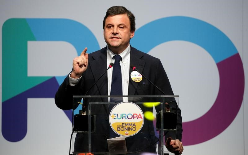 Italian Minister of Economic Development Calenda talks during the presentation of +Europa party's election programme in Rome