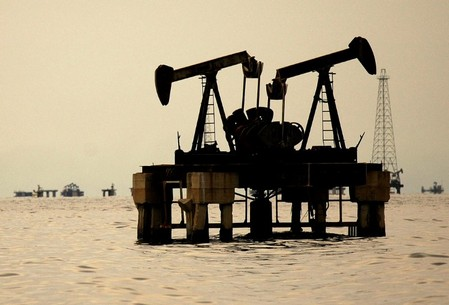 FILE PHOTO: Oil pumping facilities are seen at Venezuela's western Maracaibo lake