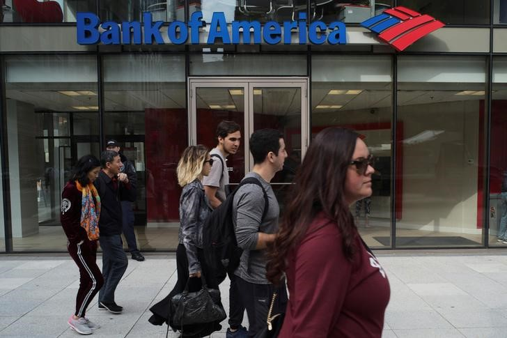 Pedestrians pass a Bank of America branch in Boston