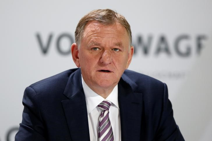 Renschler attends Volkswagen AG annual news conference in Wolfsburg