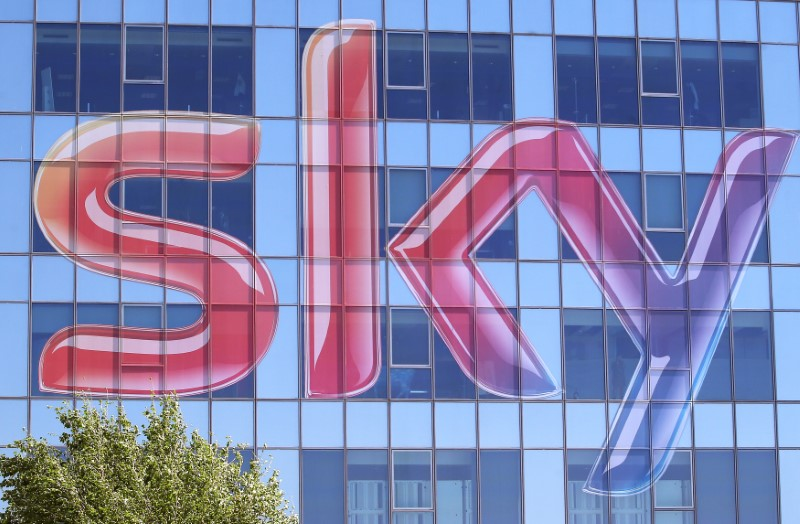 Sky logo is seen at the exterior of the Sky Italia buildings on the outskirts of Milan
