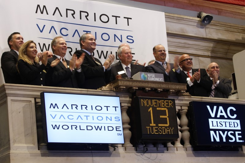 Steve Weisz, CEO of Marriott Vacations Worldwide, rings the opening bell at the New York Stock Exchange