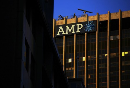 The logo of AMP Ltd, Australia's biggest retail wealth manager, adorns their head office located in central Sydney, Australia