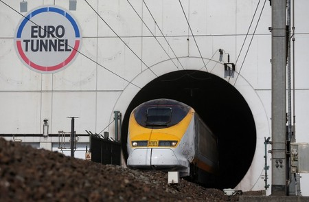 FILE PHOTO: A high-speed Eurostar train exits the Channel tunnel in Coquelles