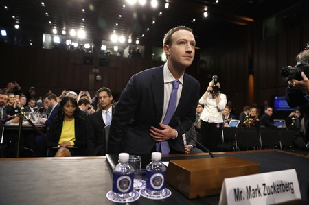 Facebook CEO Zuckerberg arrives to testify before a U.S. Senate joint hearing on Capitol Hill in Washington