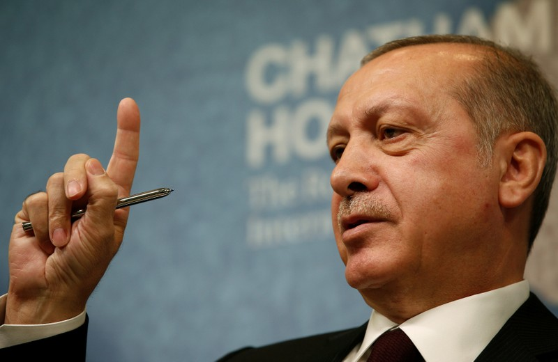 The President of Turkey, Recep Tayyip Erdogan, speaks at Chatham House in central London