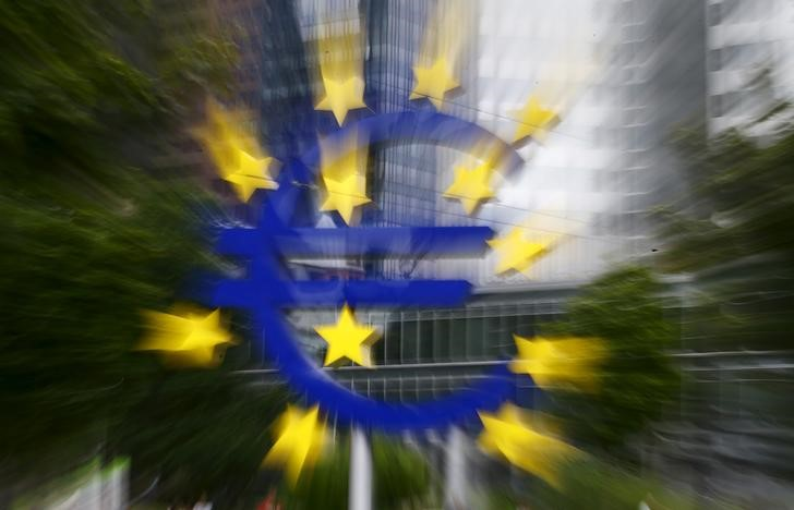 The famous euro sign landmark is pictured outside the former headquarters of the European Central Bank (ECB) in Frankfurt