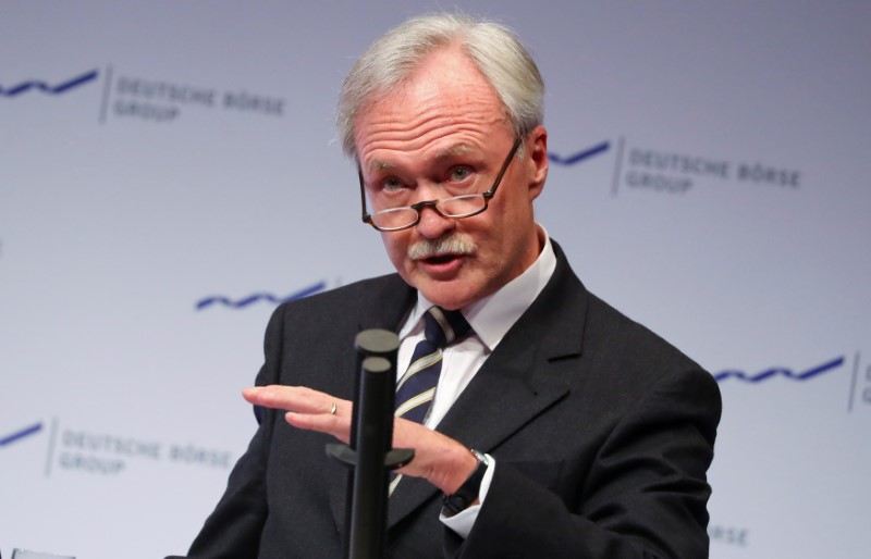 Deutsche Boerse supervisory board chairman Faber holds a speech at the stock market's New Year reception in Eschborn