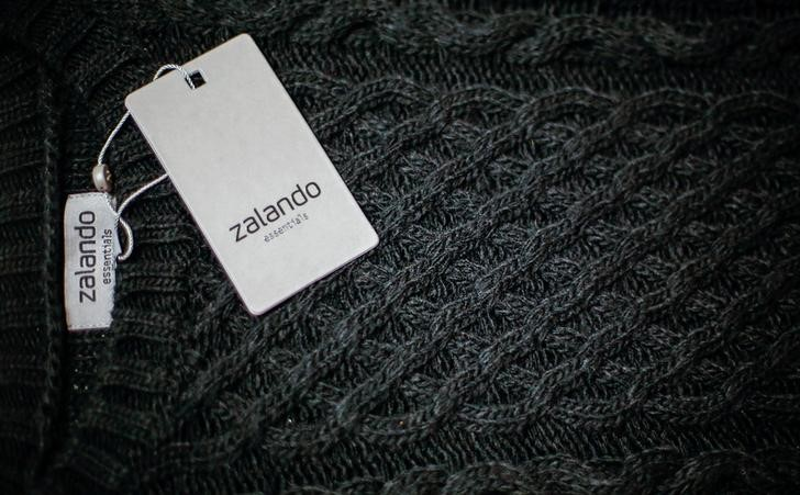 FILE PHOTO: A Zalando label lies on an item of clothing in a showroom of the fashion retailer Zalando in Berlin