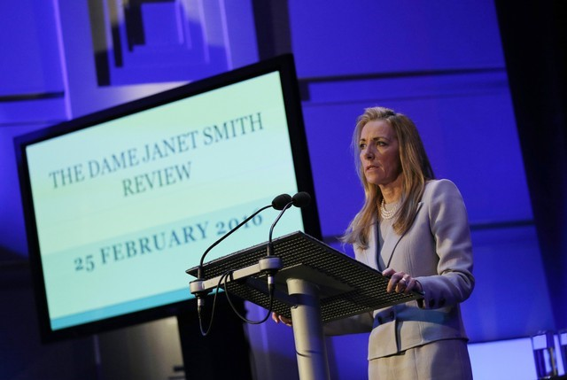 FILE PHOTO: Rona Fairhead makes a statement after the publication of the Janet Smith Report in London