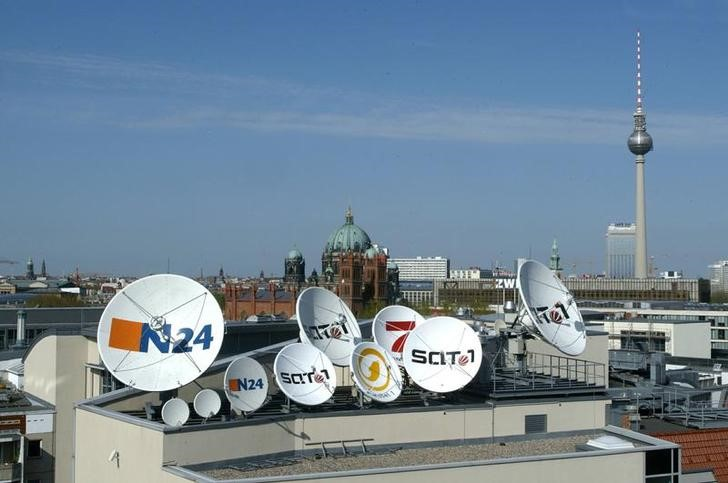 Satellite dishes of the German television stations N24, Kabel 1, SAT 1 and Pro Sieben of the German ..