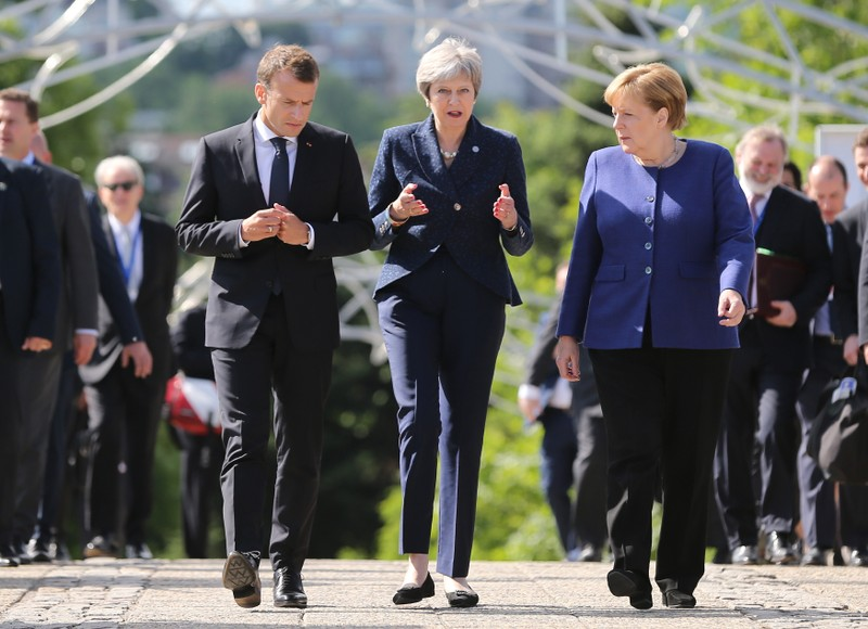 French President Macron, British Prime Minister May and German Chancellor Merkel during the EU-Western Balkans Summit in Sofia