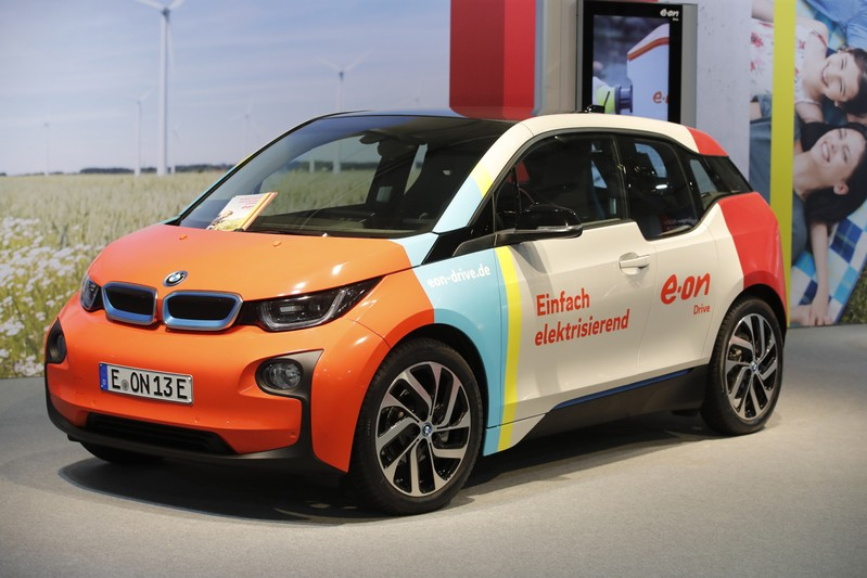 A BMW 3 electric car is seen during the E.ON annual shareholders meeting in Essen