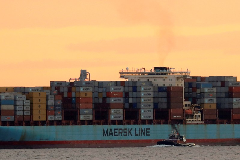 FILE PHOTO: The Maersk ship Adrian Maersk is seen as it departs from New York Harbor