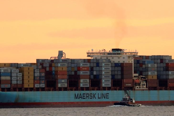 FILE PHOTO: The Maersk ship Adrian Maersk is seen as it departs from New York Harbor in New York