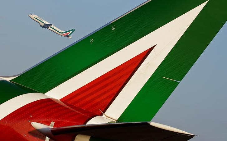 An Alitalia passenger aircraft takes off at Fiumicino International Airport in Rome