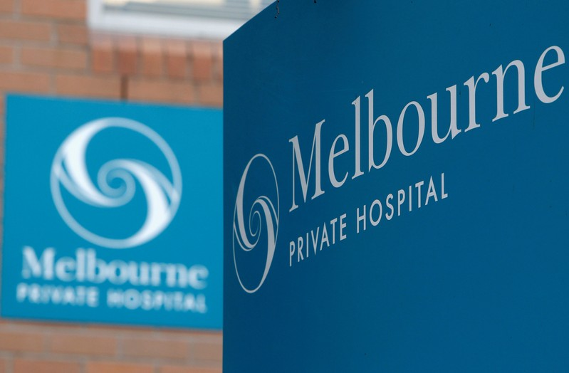 FILE PHOTO: Signs for a Heathscope hospital are seen in central Melbourne