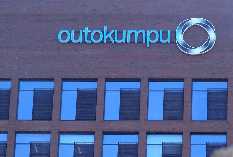 Outokumpu logo is seen at the company's head office in Helsinki