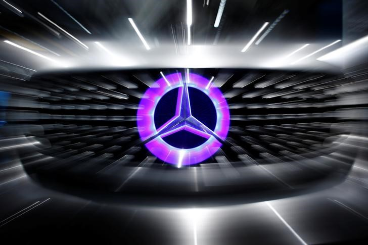 An illuminated logo of Mercedes is seen on the Mercedes-Benz F105 at an exhibition before the Daimler annual shareholder meeting in Berlin
